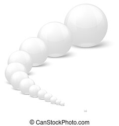 Vector white balls of different size, set in a row