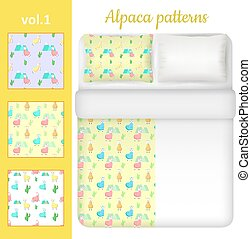 Vector white blank and cute alpaca bed linen set - White...