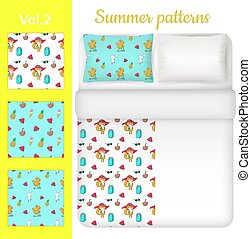 Vector white blank and summer bed linen set - White blank...