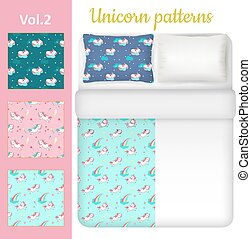 Vector white blank and unicorn bed linen set - White blank...