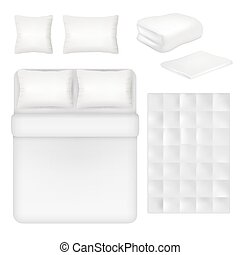 Vector white blank bedding realistic template set