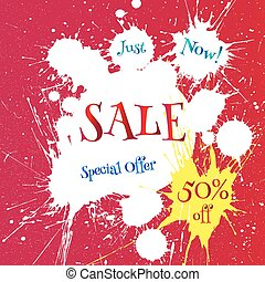 Vector white blot with Sale tag over bright red background.