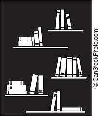 Vector white books on the shelf