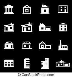 Vector white buildings icon set