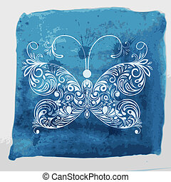 Vector white butterfly on watercolor blue background with blots and splashes, fully editable eps 10 file with transparency effects