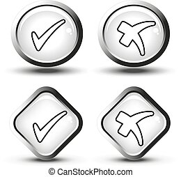 Vector white buttons with black line simple check mark symbols, square and circle buttons