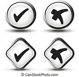 Vector white buttons with black simple check mark symbols, square and circle buttons