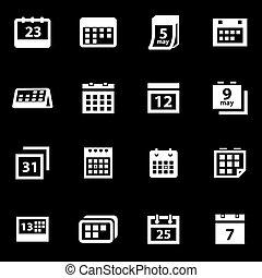 Vector white calendar icon set