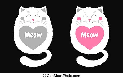 Vector White Cat in Cartoon Style. 4