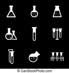 Vector white chemistry icon set