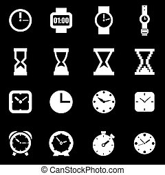 Vector white clock icon set
