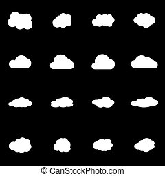 Vector white cloud icon set