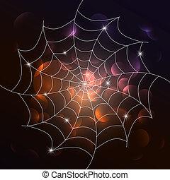 Vector white cobweb on dark background