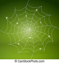 Vector white cobweb on green background