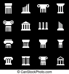 Vector white column icon set