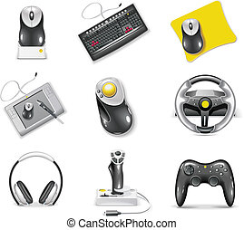 Set of icons representing realistic computer components