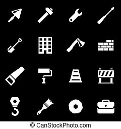 Vector white construction icon set