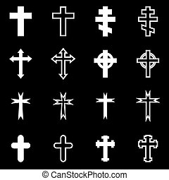 Vector white crosses icon set