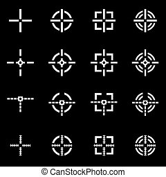 Vector white crosshair icon set