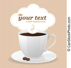 Vector white cup of coffee and text