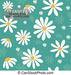 vector white daisy flower pattern on pastel mint green background seamless background