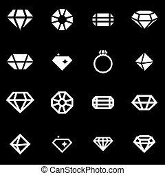 Vector white diamond icon set