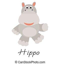 vector, white., dier, wild, hippos, spotprent