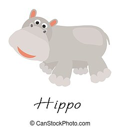 vector, white., dier, wild, spotprent, nijlpaard