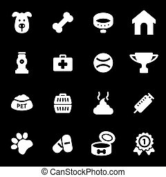 Vector white dog icons set