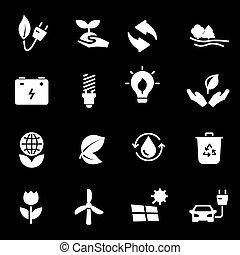 Vector white eco icons set