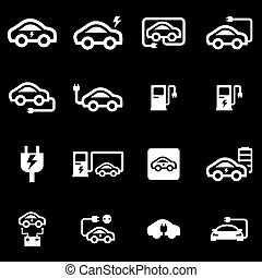 Vector white electric car icon set