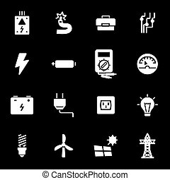 Vector white electricity icons set