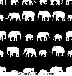 vector white elephants walking seamless black pattern eps10