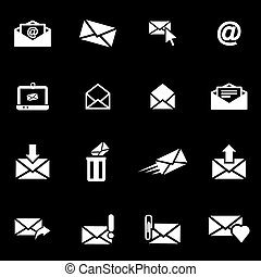 Vector white email icon set
