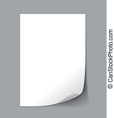 Vector White Empty paper sheet with curl