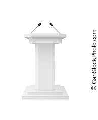 Vector White empty Podium Tribune Stand with Microphones Isolated