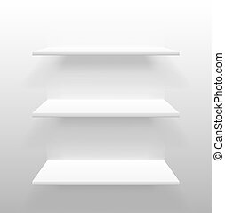 Vector white empty shelves on wall