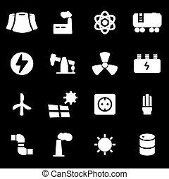 Vector white energetics icons set on black background