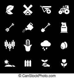 Vector white farming icons set