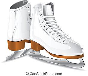 White figure skates over white background. Vector illustration