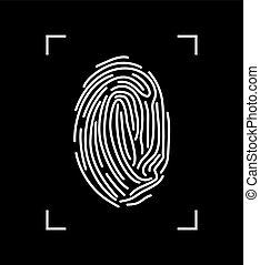 Vector white fingerprint isolated on black background.