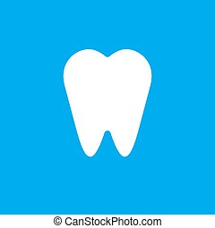 Vector white flat tooth icon isolated on blue
