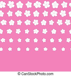 Vector white flowers border seamless pattern pink background