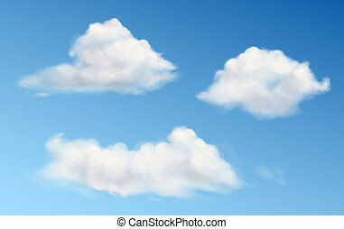 Vector white fluffy clouds in blue sky