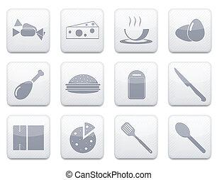 Vector white food app icon set. Eps10