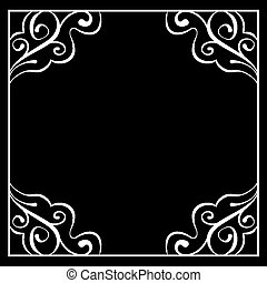 Vector white frame on a black background
