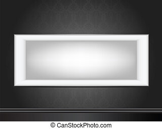White frame on wall with seamless black wallpaper