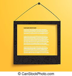 Vector white frames on the yellow wall