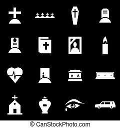 Vector white funeral icon set