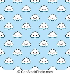 Vector White Funny Clouds Smile Background Texture Blue Sky Wallpaper Icon